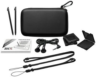 Black Nintendo 3DS XL Accessory Pack / Kit  Case, Stylus