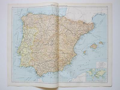 1920 Spain & Portugal Map Large Colour Map Gross