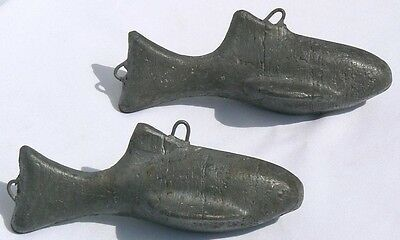 2 lead fish. These were figural downriggers from a Lake Michigan fishing boat.