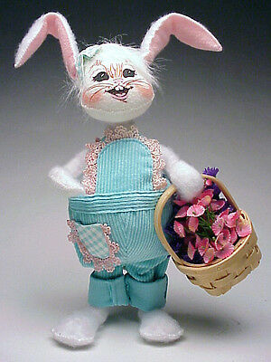 Annalee Easter 2004 Mobility Doll 10 inch Spring Girl Bunny Wicker Flower Basket