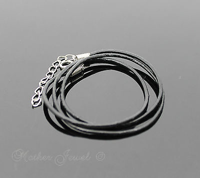 Long Black Leather Chain Mens Ladies Boys Girls Silver Sp Necklace With Extender