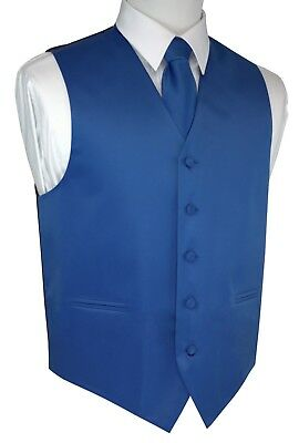 MEN'S ROYAL BLUE SATIN TUXEDO VEST, TIE & HANKIE SET. Wedding, Formal, Prom