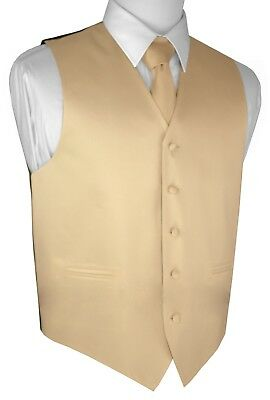 MEN'S CHAMPAGNE SATIN TUXEDO VEST, TIE & HANKIE SET Wedding, Formal, Prom, Dress