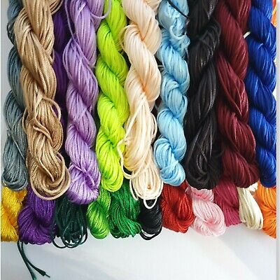 28 Mtrs 1mm or 13 Mtrs 2mm Nylon Thread / Cord for Shamballa Beads Variety Color