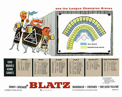 Milwaukee Braves Blatz Beer 1959 Promo Poster Schedule, 8x10 Color Photo