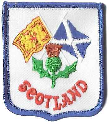 Scotland Thistle & Dual Flags Crest Flag World Embroidered Patch Badge
