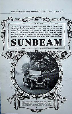1916 Sunbeam Automobile Dirt Road Trees ad
