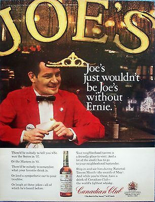 1966 Canadian Club Joes Tavern Bartender Ernie Wouldnt Be Without ad