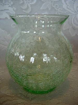 Collectible Green Crackle Blown Glass Classic Shape Vase