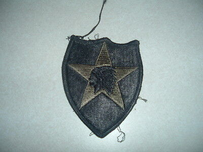 Military Us Army Patch 2Nd Infantry Division Black Green Subdued Combat Used