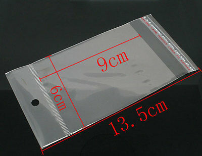 100 x Clear Self Adhesive Cello Bag With Hole Jewellery 13.5cm x 6cm Q141