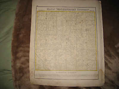 ANTIQUE 1873 WASHINGTON TOWNSHIP RICHLAND COUNTY OHIO HANDCOLORED MAP FINE NR