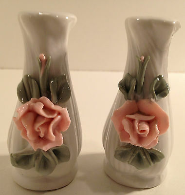 Vintage Pink And White Flower Vase Salt And Pepper Shakers