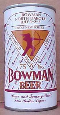 BOWMAN BEER Can with an Indian North Dakota, Cold Spring, MINNESOTA 1982 Grade 1