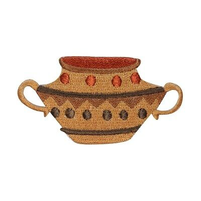 ID 3205 Ancient Clay Pot Patch Pottery Jug Container Embroidered IronOn Applique