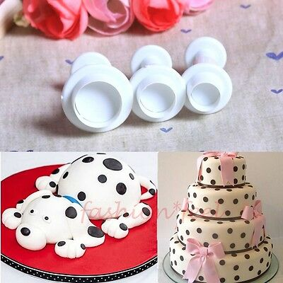 New 3x Round Fondant Cake Decorating Sugarcraft Plunger Cutters Tools Mould Mold