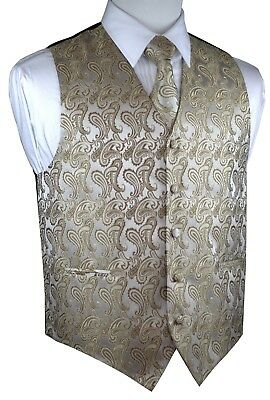 Men's Dark Champagne Paisley Tuxedo Vest Tie & Hankie. Formal Dress Wedding Prom