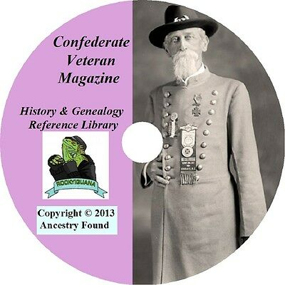 Confederate Veteran Magazine - Civil War History & Genealogy - 372 Issues on DVD