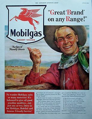 1940 Mobilgas Cowboy Fence Great Brand On Any Range Flying Horse ad
