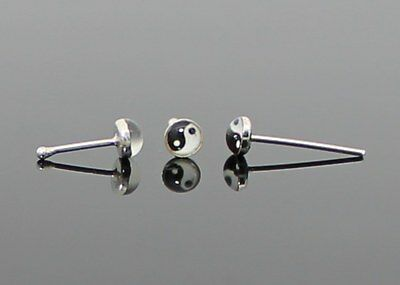 Real Solid 925 Sterling Silver Ying Yang Mens Ladies Nose Stud Ball Straight End