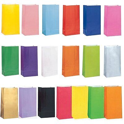 Solid Colour Paper Party Favour Treat Bags - 16 Colours Available - Loot Bag