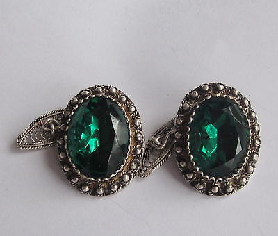 Vintage Antique Custom Made Silver Filigree Cufflinks Set Large Green Rhinestone