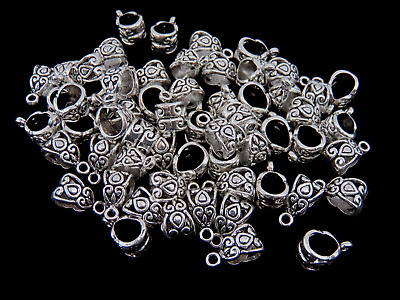 20 x Tibetan Silver Hollow Bails 13mm Jewellery Fit European Bracelet Q155