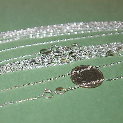 "20 pieces 10x16.5"" + 10x18"" Sterling Silver 925 1mm FIGARO CHAIN NECKLACES Lot"