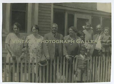 Old Photo Dressed Up Black Family In Front Of House 1930's African American