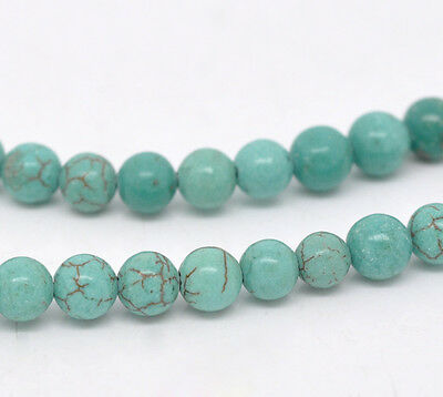 50 X Turquoise Round Beads  6 Mm   00702