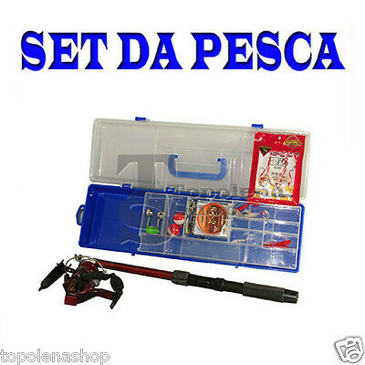 Kit Set Canna Da Pesca Estensibile Mulinello Valigetta Ami Galleggiante