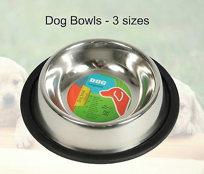 Dog Feeding & Water Bowl Stainless Steel Non Slip Dish Food Pet Cat High Sides