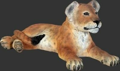Lion Cub Statue Lion Cub Laying LIFE SIZE Statue Prop Garden Display