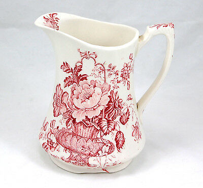 Alfred Meakin CHARLOTTE - RED / PINK Pitcher 5.25 in. Flowers Urn Vase White