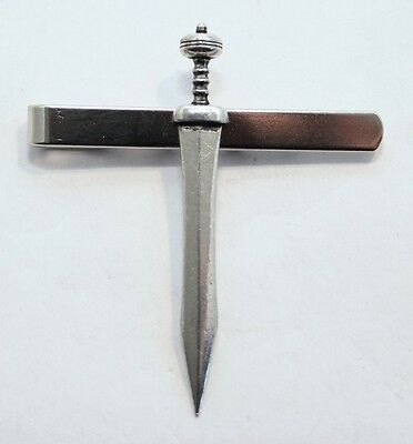 Roman Short Sword Gladius Tie Clip (slide) by Hoardersworld, Handmade in Pewter