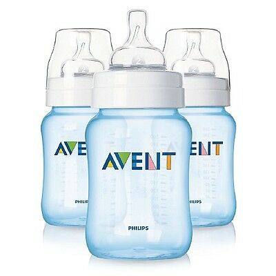 Avent Special Edition Natural Feeding Baby Bottle, 0-6 months, 9 oz., Blue 3 ea