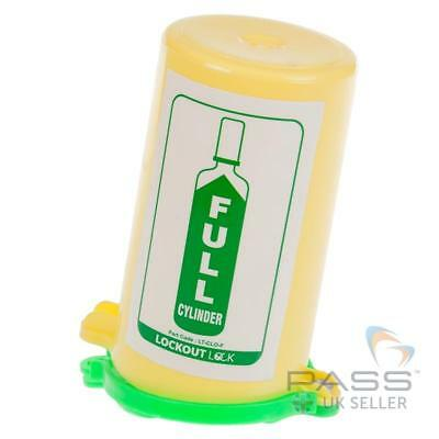 LOTO Gas Cylinder Lockout Fits 35mm Stem - Green Lid with Full Label
