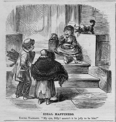 Children, Young Vagrant Eating Food, Antique Wood-Cut Engraving, Child Vagrant