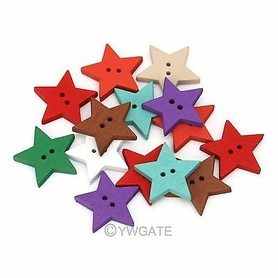 100pcs Mixed Color Painting Star Wood Scrapbooking Sewing Button 18mm 111633