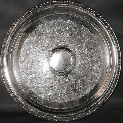 ** Silverplate Chased  Round Serving Shrimp Dip Tray Bead-like Boarder
