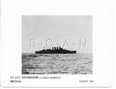 WWII Double Sided Recognition Photo Card- England- UK Warship- CA Devonshire- 44