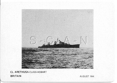 WWII Double Sided Recognition Photo Card- England- UK Warship- CL Arethusa- 1944