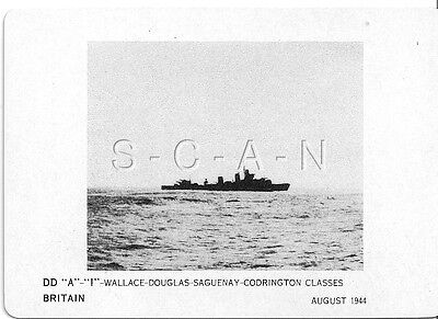 WWII Double Sided Recognition Photo Card- England- UK Warship- DD Wallace Class