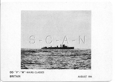 WWII Double Sided Recognition Photo Card- England- UK Warship- DD Wairs Class