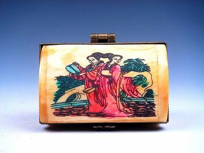 Hand Crafted Overlay 2 Palace Ladies Hand Painted Snuff Trinket Box Decor #AA1