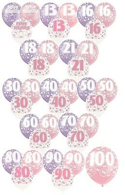 "PINK GLITZ - Pack of 6 x 12"" Pearlised Latex Balloons (Birthday Party/Girl)"