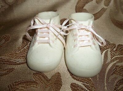 "Vintage Bisque porcelain: 2"" x 3.5"" x 2"" PAIR OF BABY SHOES  130203009"