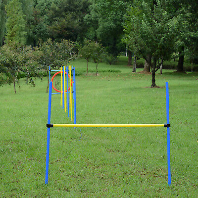 New Dog Agility Training Obedience Jump Hurdle 6 Weave Pole Training Hoop Set