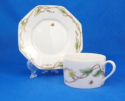 Fitz and Floyd POTAGER Flat Cup and Saucer Set 2.125 in. Octagonal Leaves Vine