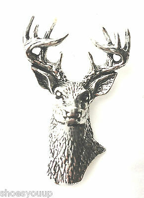 Stag Head Horns Finely Handcrafted in Solid Pewter In The UK Lapel Pin Badge